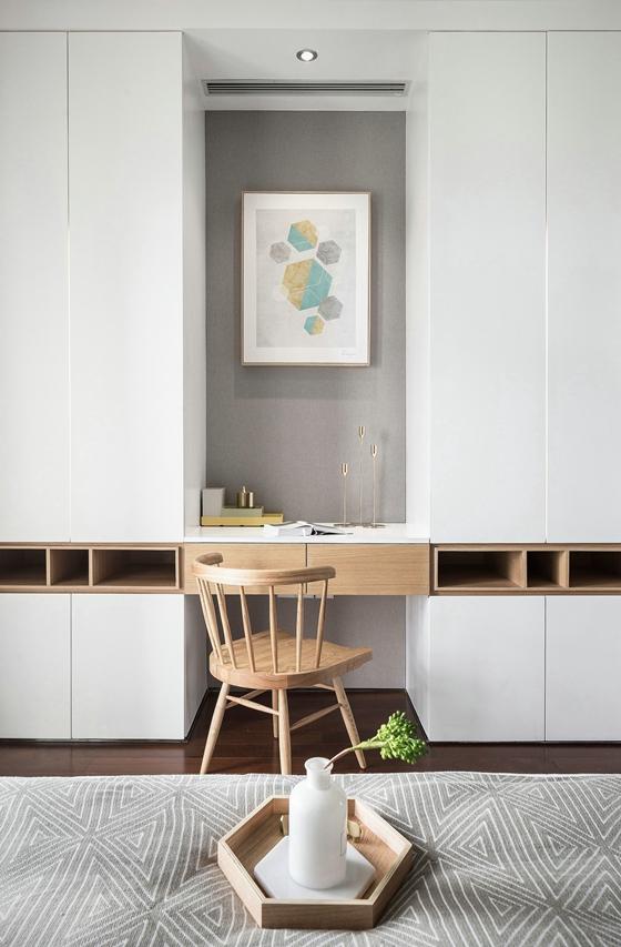 北欧简约一体式书桌衣柜图片