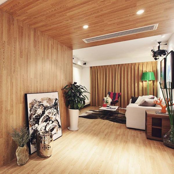 簡約中風客廳咖色系窗簾設計圖